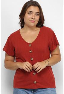 Blusa Lecimar Plus Size Canelada Botões Feminino - Feminino-Vermelho