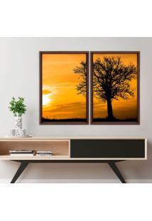 Quadro Com Moldura Chanfrada Por Do Sol Com Árvore Madeira Escura - Médio
