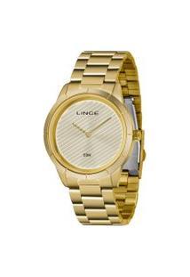 Kit Relógio Feminino Lince Lrg625L-Kx98C1Kx Analógico 5Atm + Conjunto Semijóia   Lince   Dourado   U