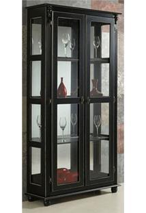 Cristaleira 2 Portas + 3 Prateleiras Laterais Com Vidro Com Espelho - Tommy Design