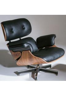 Poltrona Charles Eames Imbuia Couro Natural Preto 26605 - Sun House