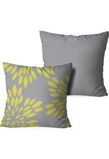 Kit 2 Capas Love Decor Para Almofadas Decorativas Geometric Folhas Multicolorido Cinza