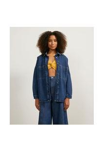 Jaqueta Em Jeans Com Bolsos Frontais E Costuras Contrastantes | Marfinno | Azul | Pp