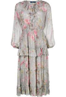 Polo Ralph Lauren Vestido De Seda Floral - Cinza