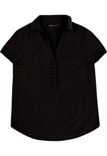Camisa Básica Feminina Com Fechamento Por Botões