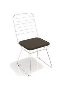 Cadeira Líbia Kappesberg Cromado/Marrom