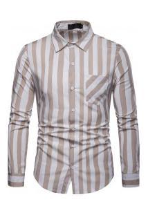 Camisa Masculina Com Listras Verticais Manga Longa - Cáqui