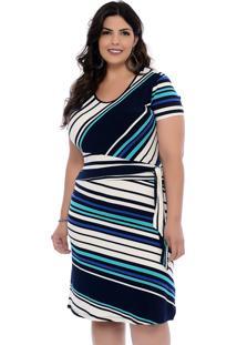 Vestido Plus Size Dezembro Listrado Celeste - Azul - Feminino - Dafiti