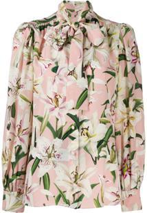 Dolce & Gabbana Floral Tie Neck Blouse - Rosa