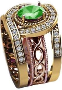 Anel Cristal Esmeralda Solitário Queen Triplo Banhado A Ouro 18K