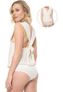 Body Cantão Risca Lurex Off-White