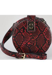 Bolsa Feminina Transversal Pequena Redonda Croco Estampada Animal Print Vermelha
