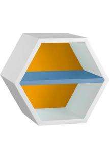 Nicho Hexagonal Favo Ii Com Prateleira Branco Com Amarelo E Azul Serenata