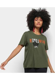 Camiseta Cantão Local Revolution Love Feminina - Feminino-Musgo