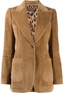 Dolce & Gabbana Blazer Com Abotoamento Simples De Veludo Cotelê - Neutro