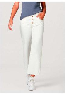 Calça Feminina Cropped Com Botões Tartaruga Branco