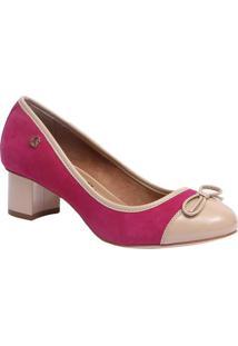 Sapato Tradicional Em Couro Com Laã§O Frontal- Pink & Begcarmen Steffens