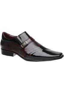 Sapato Social Malbork Em Couro Verniz Dark - Masculino-Preto+Vermelho