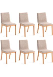 Conjunto Com 6 Cadeiras De Jantar Bogor Dourado E Carvalho
