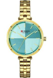 Relógio Curren Analógico C9043L Feminino - Feminino-Dourado+Azul