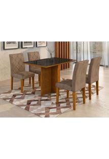 Conjunto De Mesa De Jantar Com 4 Cadeiras Ane Ii Suede Animalle Imbuia E Chocolate
