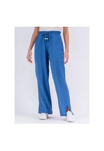Calça Pantalona Bolso Azul Sereno -G Incolor