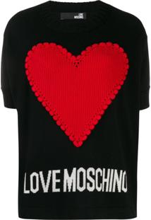 Love Moschino Suéter De Tricô Hear - Preto