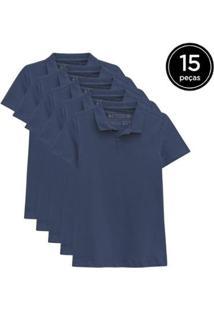 Kit 15 Camisas Polo Basicamente Feminino - Feminino-Azul Escuro
