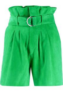 P.A.R.O.S.H. Suede Paperbag Waist Shorts - Verde