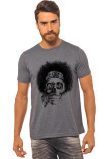 Camiseta Masculina Joss Estampada Caveira Black Power Chumbo