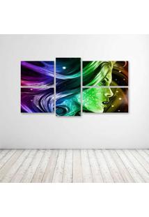 Quadro Decorativo - Face Psicodelic - Composto De 5 Quadros - Multicolorido - Dafiti