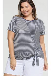 Blusa Feminina Listrada Plus Size Manga Curta