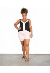 Bermuda Besni Sarja Color Plus Size Feminina - Feminino-Rosa