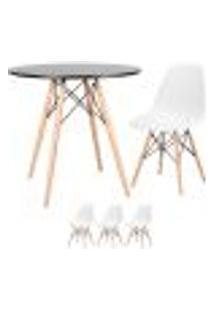 Conjunto De Mesa Eames 80 Cm Preto + 3 Cadeiras Eames Eiffel Dsw Branco