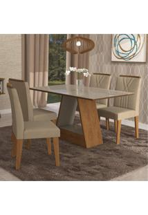 Conjunto Sala De Jantar Mesa Alana 4 Cadeiras Nicole Cimol Savana/Off White/Suede Marfim