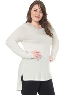 Blusa Secret Glam Plus Size Alongada Bordado Off-White