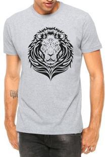 Camiseta Criativa Urbana Leão Tribal Manga Curta - Masculino-Cinza