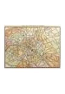 Painel Adesivo De Parede - Mapa Paris Vintage - 009Pn-M