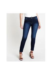Calça De Sarja Feminina Skinny Cintura Média Azul Escuro
