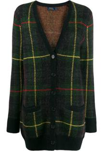 Polo Ralph Lauren Checked V-Neck Cardigan - Verde