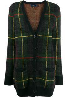 Polo Ralph Lauren Checked V-Neck Cardigan - Verde