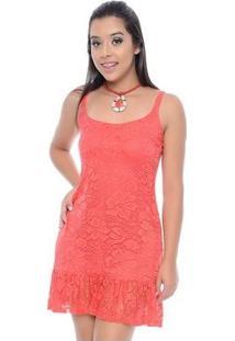 Vestido Bbonnie De Alça Curto De Renda - Feminino-Coral
