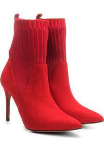 Bota Meia Couro Santa Lolla Nobuck Tecido Canelado Salto Fino Feminina - Feminino-Vermelho