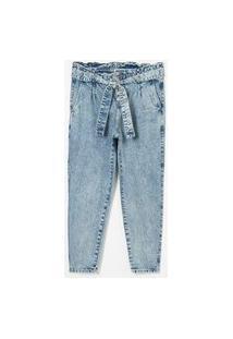 Calça Jeans Mom Clochard Com Botões E Cinto Curve E Plus Size Azul