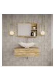 Conjunto Para Banheiro Bancada Com Cuba L42 Abaulada E Espelheira City 601 Carvalho
