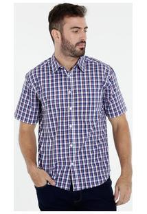 Camisa Masculina Estampa Xadrez Manga Curta Marisa