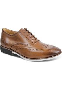 Sapato Casual Couro Oxford Brogue Sandro & Co. Masculino - Masculino-Marrom Claro