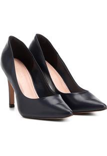 Scarpin Couro Shoestock Salto Alto - Feminino-Marinho