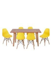 Conjunto Mesa De Jantar Em Madeira 150X80 Vértice + 6 Cadeiras Eiffel - Amarelo
