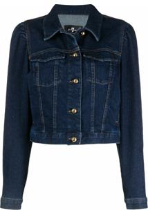 7 For All Mankind Jaqueta Jeans Cropped - Azul